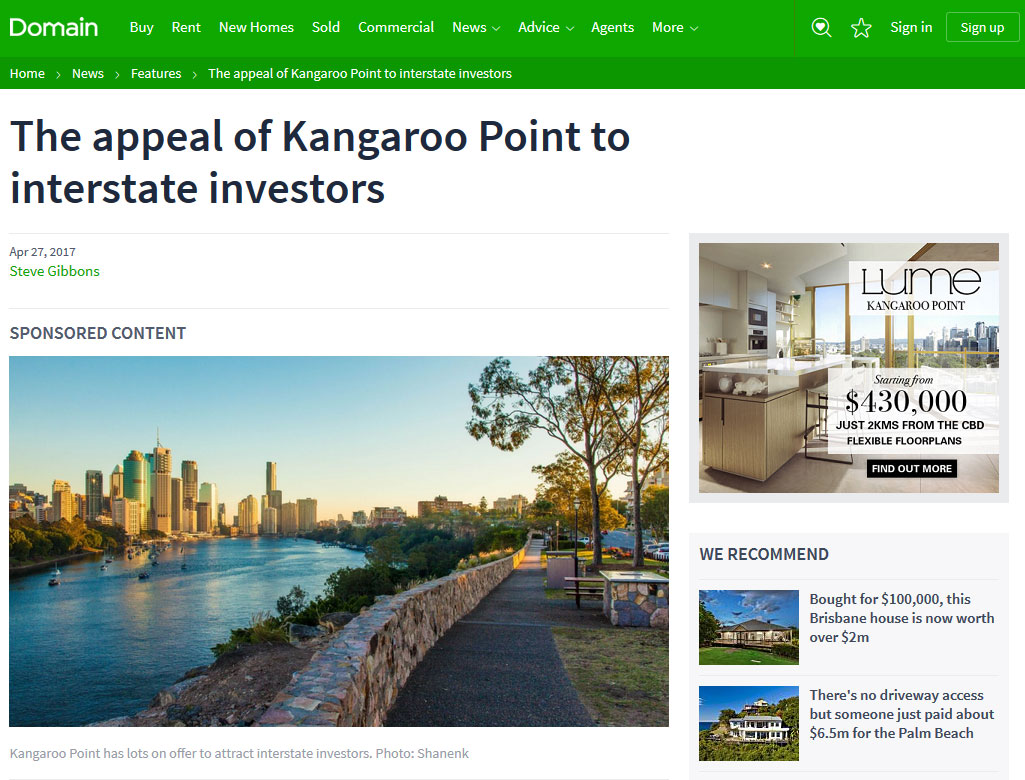 The appeal of Kangaroo Point to interstate investors